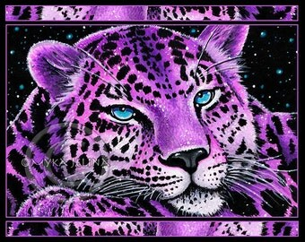 SALE Sitara Embellished Ltd Canvas Print 8x10 inch Pink Celestial Star Leopard Wild Cat Fantasy