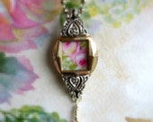 Vintage Recycled 10K Gold RGF Watch Bezel - Vintage China Sweet Roses Necklace