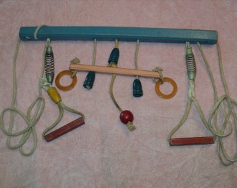 Vintage Mid Century Mobile Wood Crib Toy--Balls and Rings--Nursery Decor