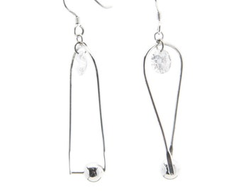 Sterling Silver Half-Twist Horseshoe Earring with Dangling Crystal and Silver Ball (E90)