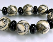 Tan Ivory Silver Round Organic Lampwork Beads Set SRA Glass Beads
