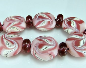 Etched Pink and Silvered Ivory Lampwork Glass Bead Set SRA