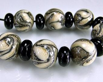 Tan Ivory Silver Round Organic Lampwork Beads Set SRA Glass Beads