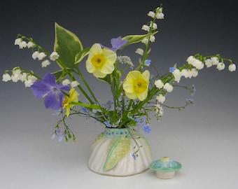 Handmade Porcelain Lidded Jar or Vase for Springtime Bulbs