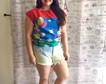Mickey Minnie Mouse Retro 80s 90s Boat Neck Square Dolman Top Shirt Blouse Size M L