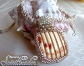 Gulf Shores Shell Shard Beaded Necklace Seashell Pendant Beadwork Necklace Cream and Ivory