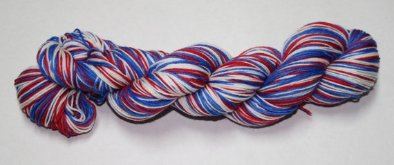 Patriotic Self Striping Hand Dyed Sock Yarn