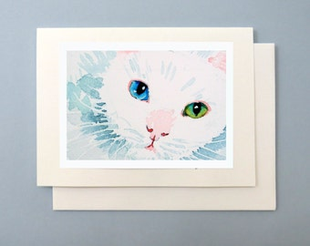 Greeting Blank Card / White cat art / Watercolor note / Kitten face kitty cat painting / Ephemera occasion birthday thank you 7 x 5 A7