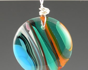 Fused Glass Circle Pendant in Turquoise Blue Teal Orange Black with Sterling Silver Wire Wrapped Bail