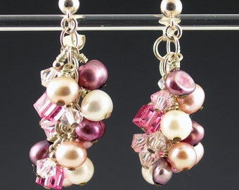 Sterling Silver Pink Pearl and Crystal Dangle Post Earrings