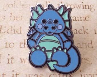 1 in. Blue baby dragon fantasy lapel pin by Ash Evans
