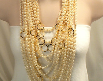 Vintage Ivory Pearl Necklace, Multi Strand Gold Pearl Necklace, Lightweight Bold Necklace, 13 Strand Statement Pearl Necklace (N231)