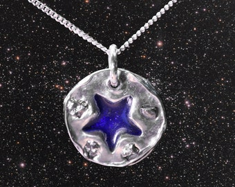 Enamelled Solid Silver  Star Meteorite Necklace