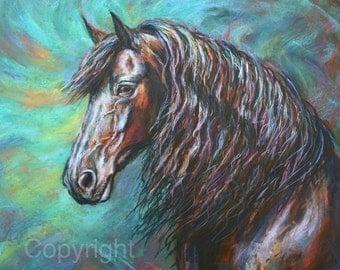 Horse Decor-Friesian horse-Giclee print-'Zelvius'