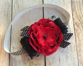 Red, White, and Black Satin and Lace Flower Headband