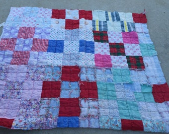 Vintage Hand Quilted Well Loved Patchwork Cutter Quilt Piece