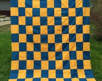 Vintage Machine Pieced Blue and Gold Patchwork Quilt Top