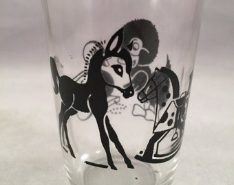 Vintage SWANKY SWIG 1950's Era Juice Glass with Blue Animals Bears and Pigs