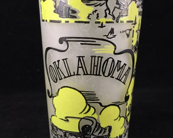 Vintage Frosted Glass Oklahoma State Souvenir Drinking Glass