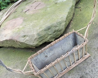 Vintage Large Old Creamy White Paint  Wicker Cemetery Basket with Metal Insert
