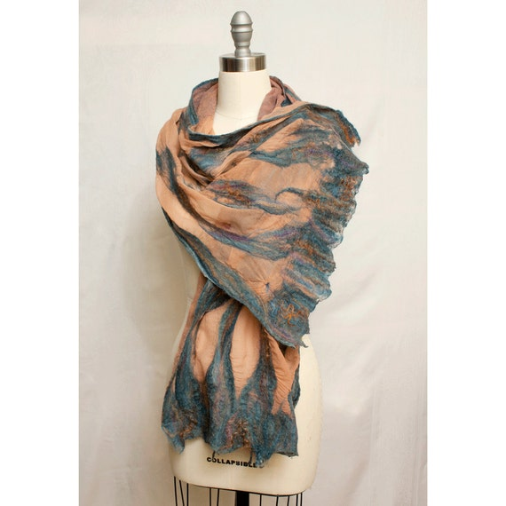 "Nuno Felted Silk Shawl ""Petra"" Art To Wear"