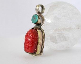 Tibetan Buddha Pendant Vintage Healing Pendant Turquoise Red Resin Brass Repousse For Ethnic Jewelry Making