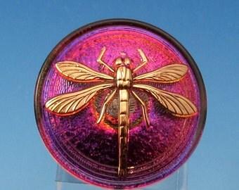 Dragonfly Button, Czech Glass, Purple Fuchsia Gold, 31mm With Pendant Converter C466