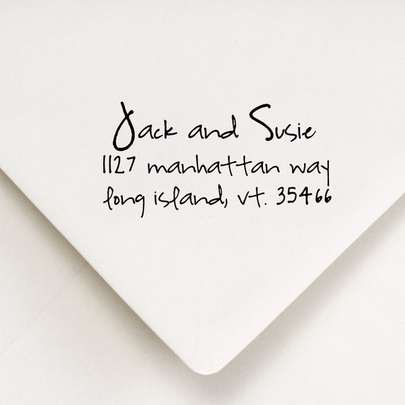Custom Address Stamp -  Perfect Personalized Gift - Jack and Susie Design