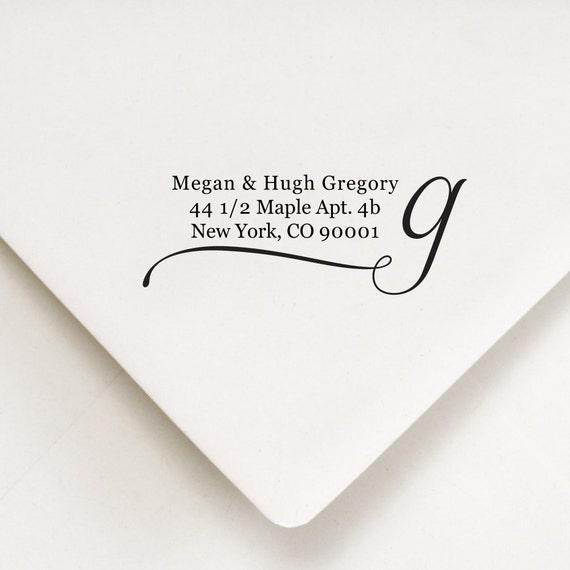 Custom  Address Stamp - Thank You, Housewarming, Bridal Shower Gift - Megan and Hugh Design