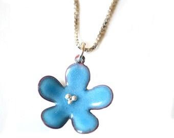 Sea Blue  Flower Enamel Necklace