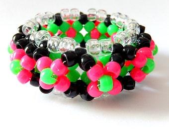 Neon Watermelon Kandi Cuff, Pink, Green 3D Disc Cuff, Rave Plur Kandy