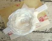 Baptism Headband White Satin Singed Ruffled Flower on White Headband
