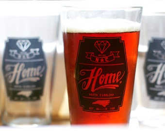 North Carolina Diamond Home Pint Glass - Set of 4