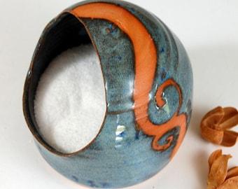 Salt Pig or Salt Cellar In Slate Blue with Rust Wave - Made to Order