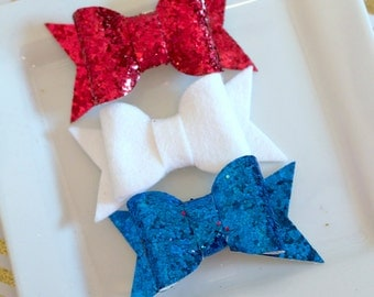 Glitter hairbow - fourth of july glitter fabric - silver glitter- holiday hairbow - glitter headband - glitter chunky bow - red white blue