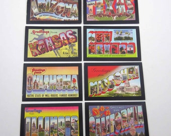 Miniature Route 66 Game Playing Cards Like Vintage Postcards Set of 8