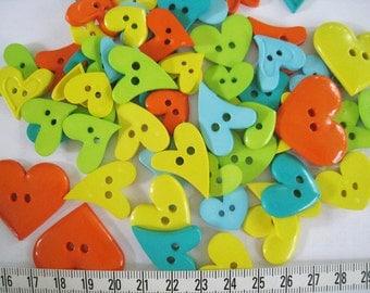 30 pcs of bright heart button - Fun - Yellow Orange Green Teal Blue