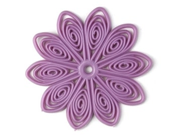 Flexible Plastic Filigree Flowers 45mm Matte Lilac (4) PB062