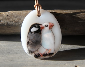 Beautiful Java Sparrow couple necklace  - fused glass pendant - parrot
