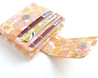 compact summer wallet. yellow flowers womans wallet for her. small fabric credit card holder. ladies coin purse pocketbook. ladies gift idea