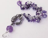 SALE -- Amethyst, Tanzanite and Iolite Wire Wrapped Bracelet