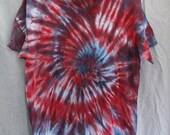 Tie Dye Shirt - Large Adult - V-Neck - Short Sleeve - Red, White and Blue - 100% Cotton