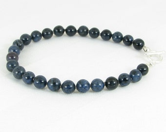 Handknotted Dumortierite and Sterling Silver Bracelet
