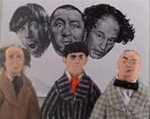 Moe, Larry, Curly Stooges Fan Art Historical Comedy Doll Miniature Set