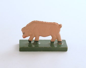 Antique Miniature Wood Pig Figurine Erzgebirge Flachfiguren Germany