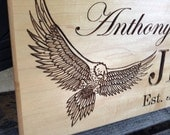 Custom Carved Hardwood Eagle Family Sign Wedding or Anniversary Gift