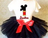 Mickey Mouse Red Black Yellow  First 1st 2nd 3rd 4th 5th 6th 7th Birthday Personalized Custom Name Age Shirt & Tutu Set Girl Outfit