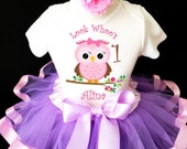 Owl Look WhOO's Whos Who's Light Pink Purple Lavender 1st First Girl Birthday Tutu Outfit Custom Personalized Name Age Party Shirt Set