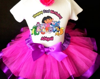 Dora Boots Iza Friends Purple Pink the explorer 2nd Second Girl Birthday Tutu Outfit Custom Personalized Name Age Party Shirt Set