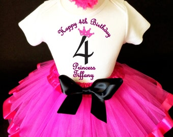 Princess Crown Black Hot Pink 4th Girl Birthday Tutu Outfit Custom Personalized Name Age Party Shirt Set